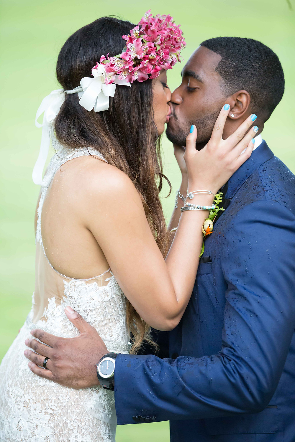 The bride and groom share their first kiss during the destination wedding in Punta Cana, Dominican Republic.