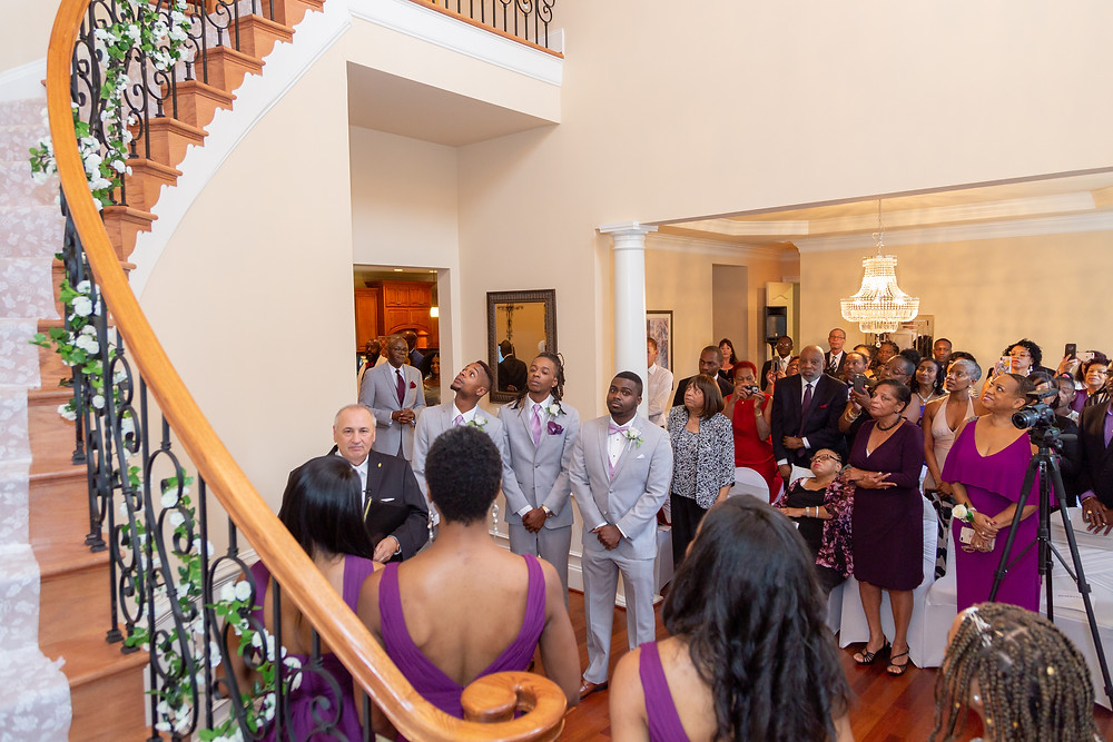 Wedding guests awaiting the bride to walk into the wedding ceremony in Fairfax, Virginia.