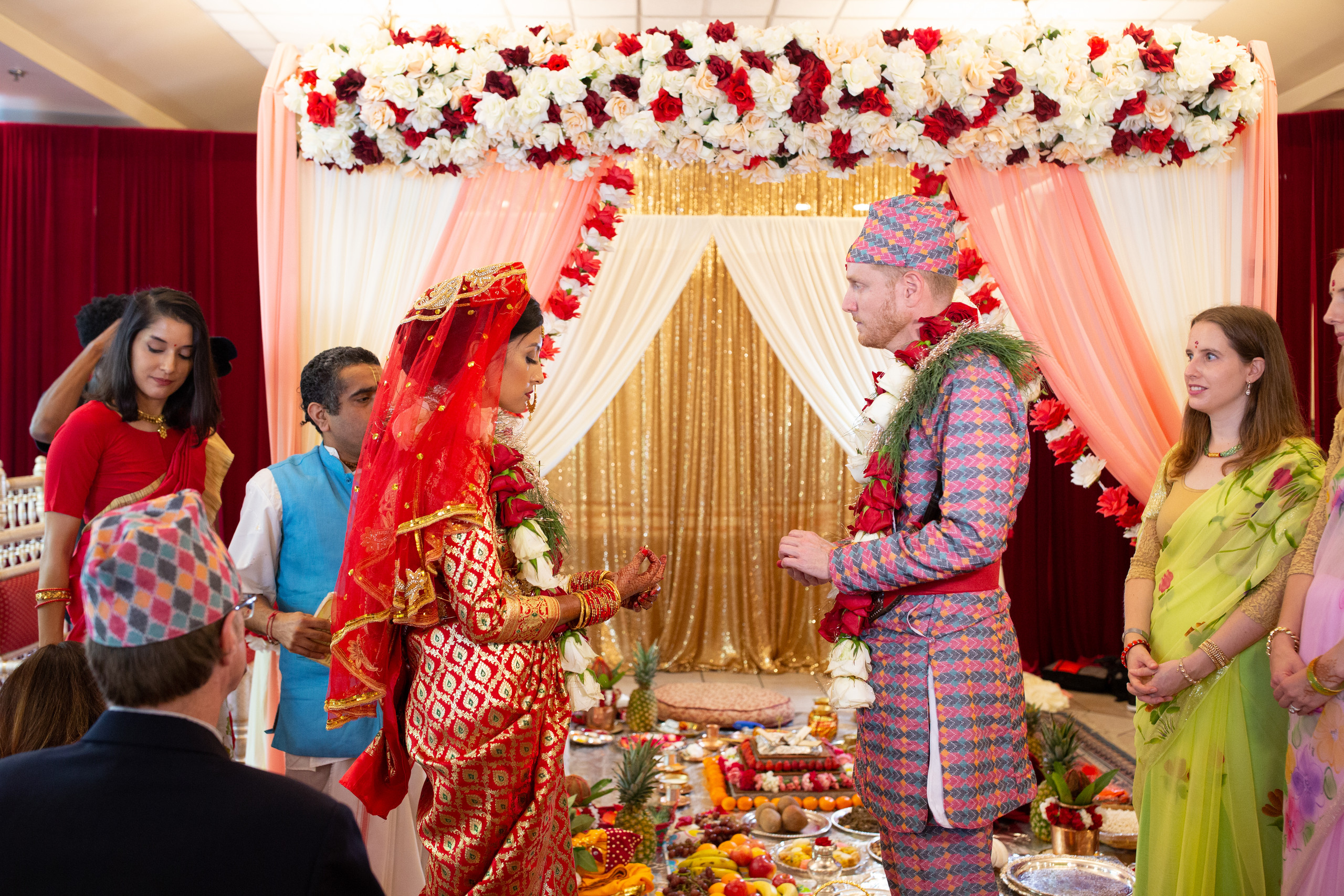 Bride and groom greeting each other during the Hindu Ceremony at the ISKCON of DC in Potomac, Maryland.