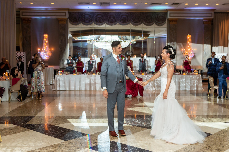 Bride and groom during their first dance during the wedding reception at Martin's Crosswinds in Greenbelt, Maryland.
