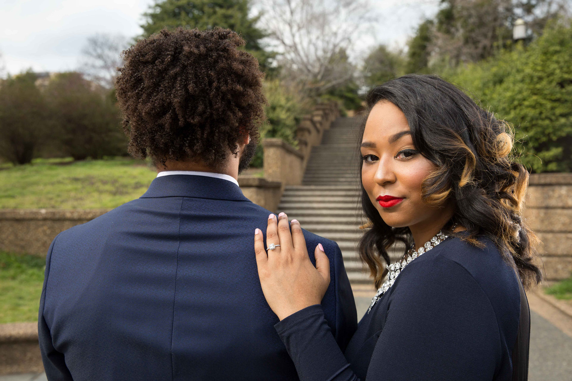 The couple posing during their engagement session in Washington DC.