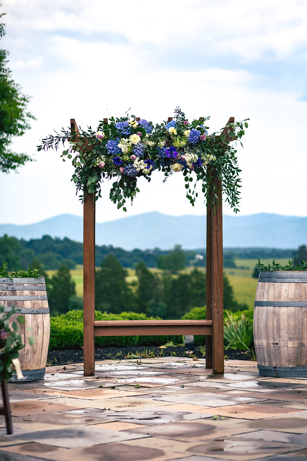 The alter before the Chandler wedding at Crosskeys Vineyards in Mt. Crawford, Virginia.