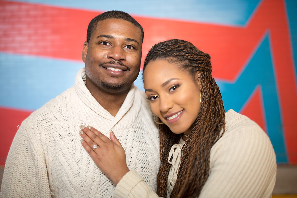 Tierra and Carl at their engagement session in Crystal City, Virginia.