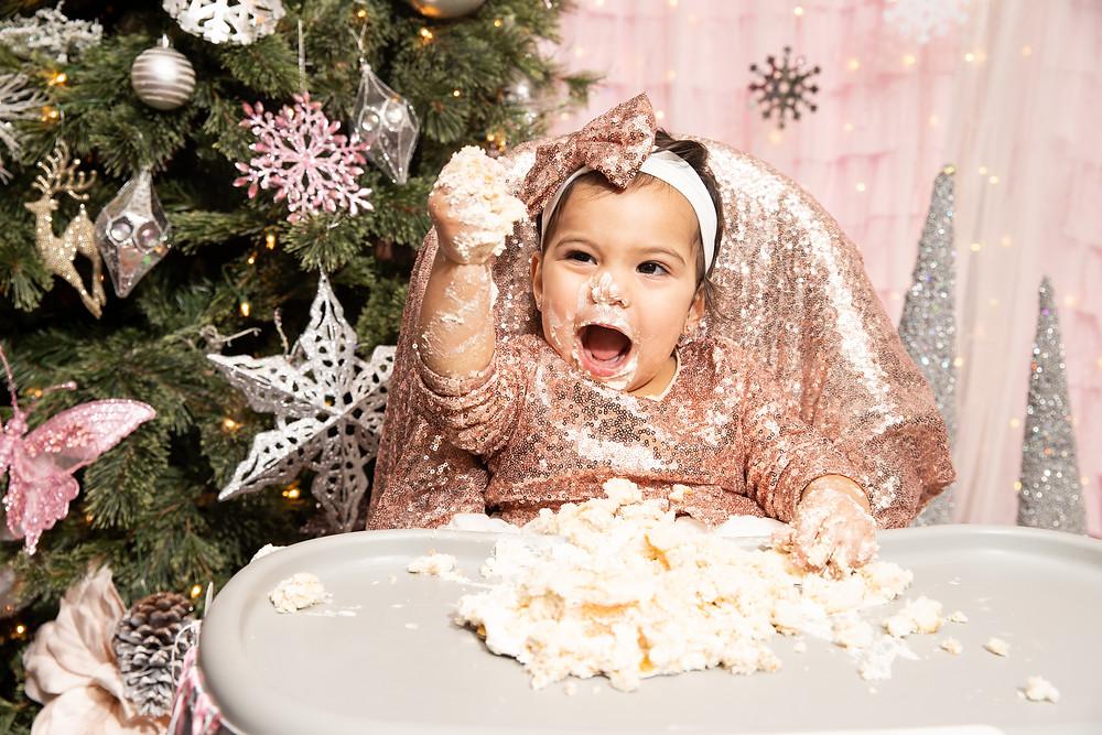 Camila enjoying her 1st Birthday Cake at her 1st Birthday Party in Washington DC.