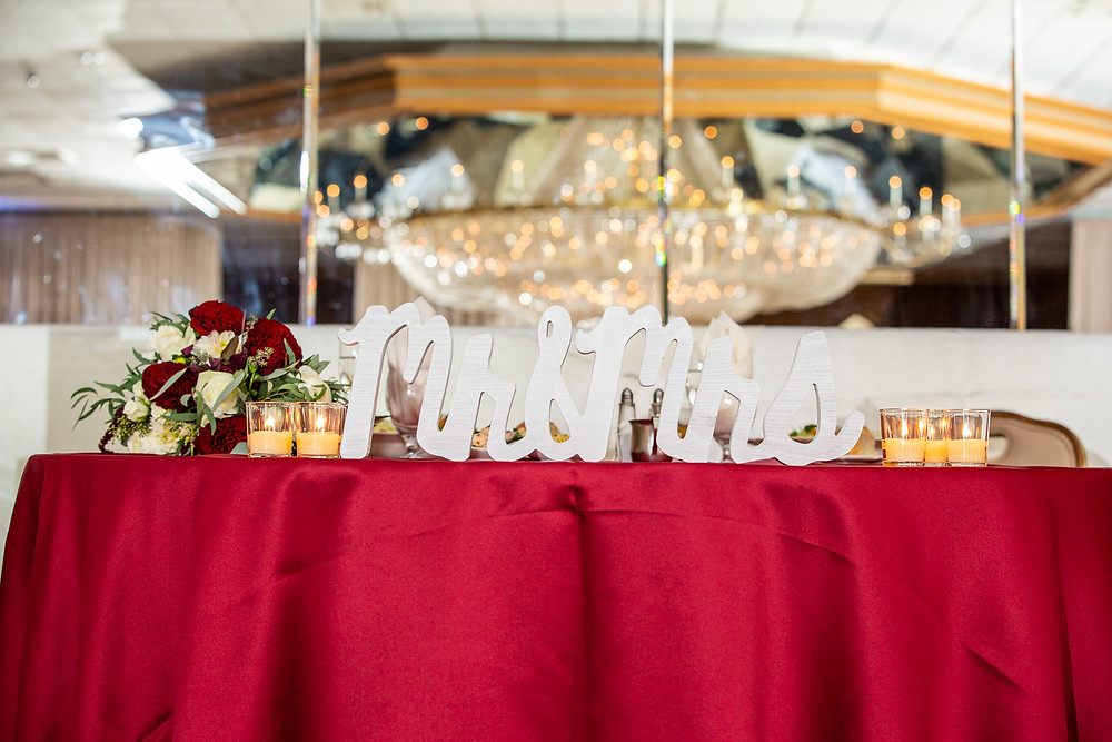 The gorgeous couple's table in the Martin's Crosswinds reception hall in Greenbelt, Maryland.
