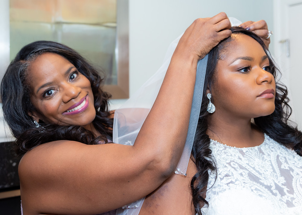 Jordyn and her mother before the wedding at Fairfax, Virginia.