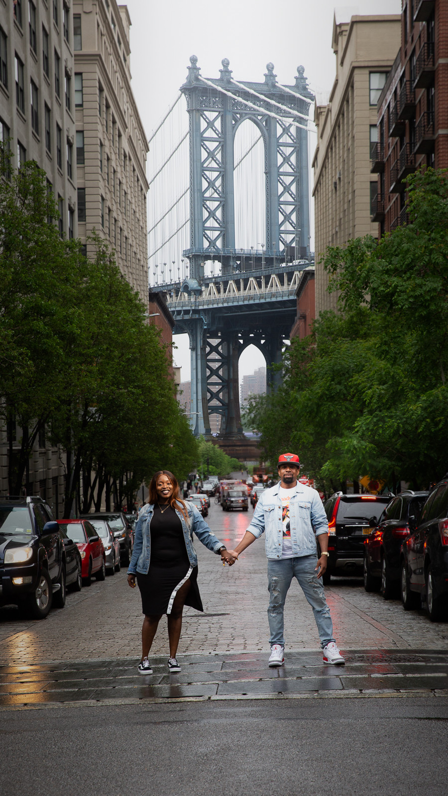 Jade and Christopher after the proposal in Dumbo Brooklyn, New York.