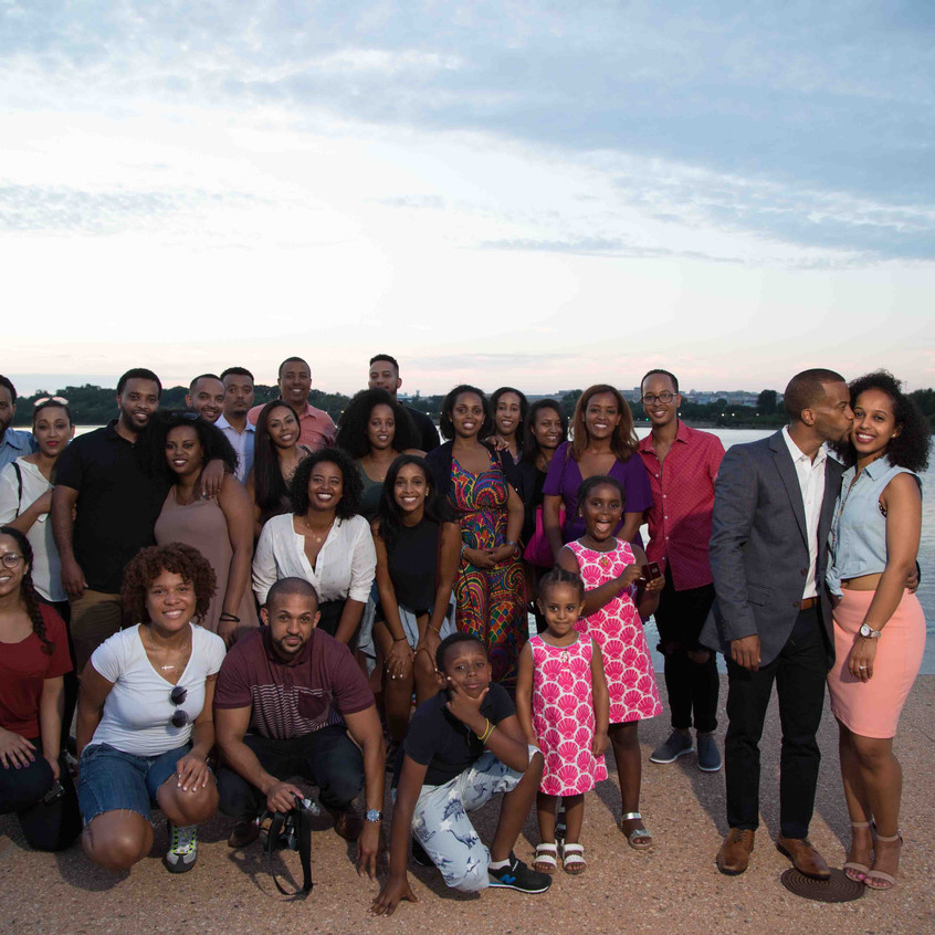 Kaleab and Essete celebrate with the friends and family that helped with the proposal.