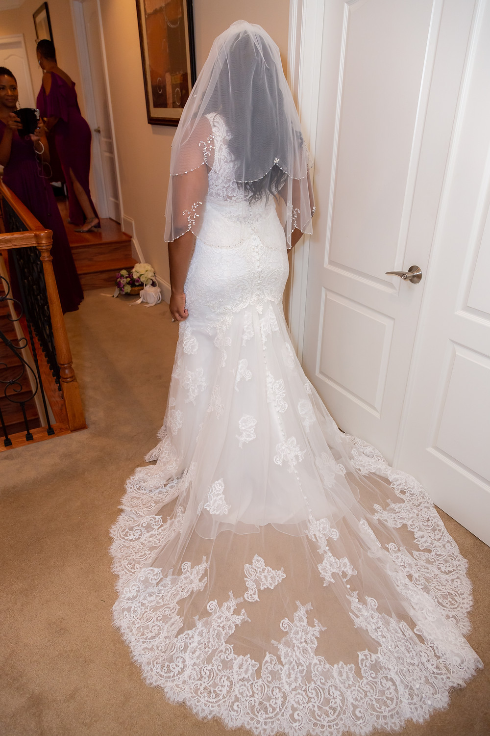 Jordyn in her wedding dress before the ceremony in Fairfax, Virginia.