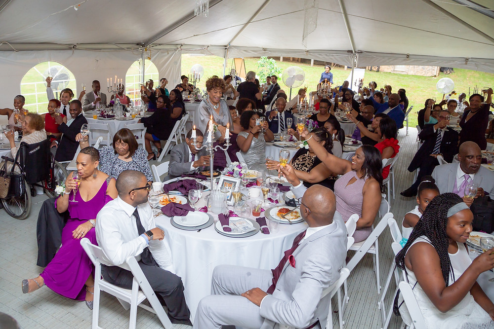 The wedding guests toast the couple during the wedding reception in Fairfax, Virginia.
