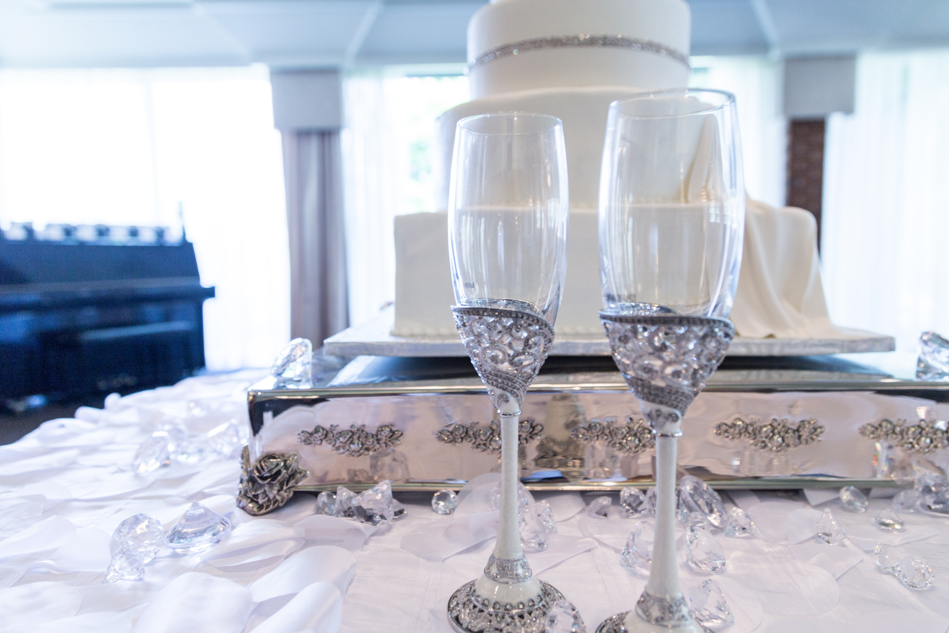 Wedding Cake and Couples Flutes