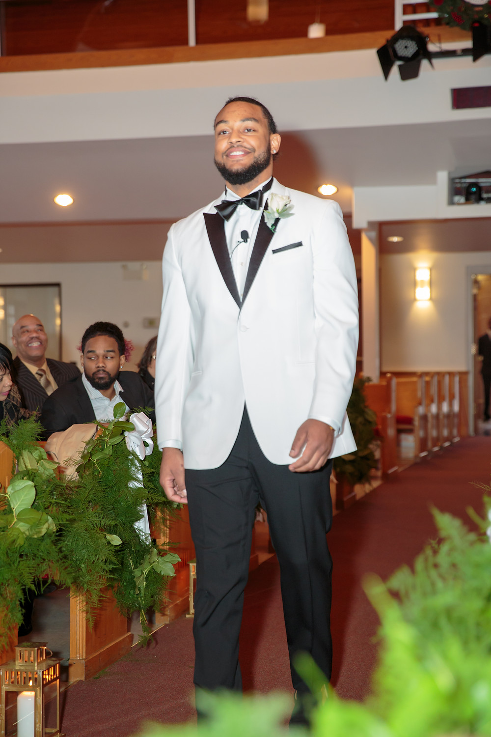 The groom, Shelton, approaching the alter at the Alfred Street Baptist Church in Alexandria Virginia.