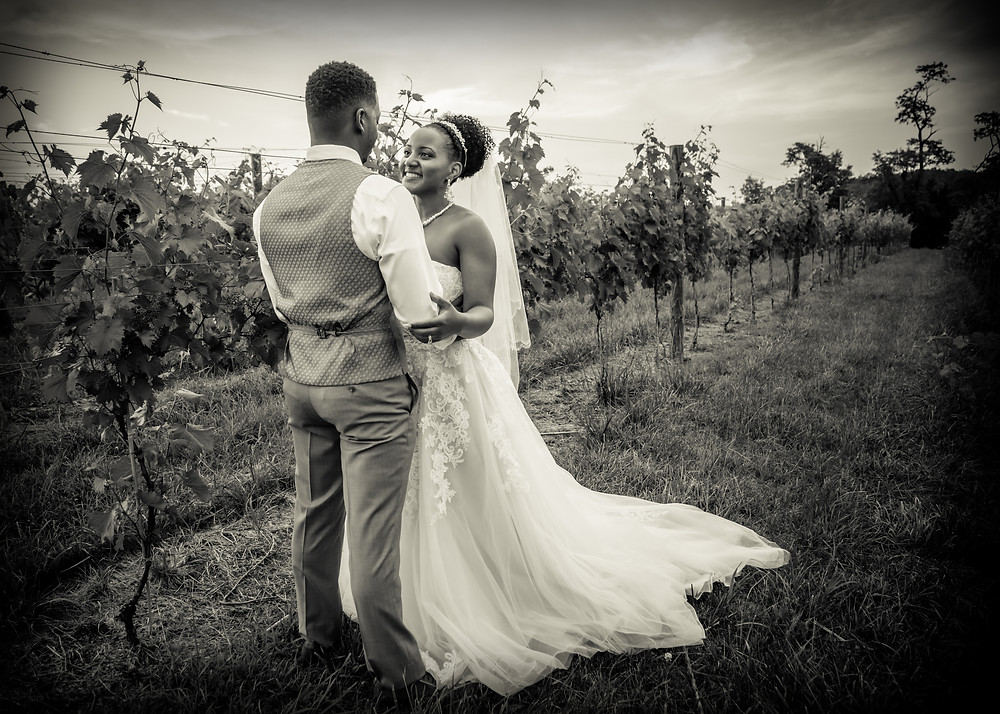 The bride and groom share a moment in the vineyards after the wedding ceremony at Crosskeys Vineyards in Mt. Crawford, Virginia.