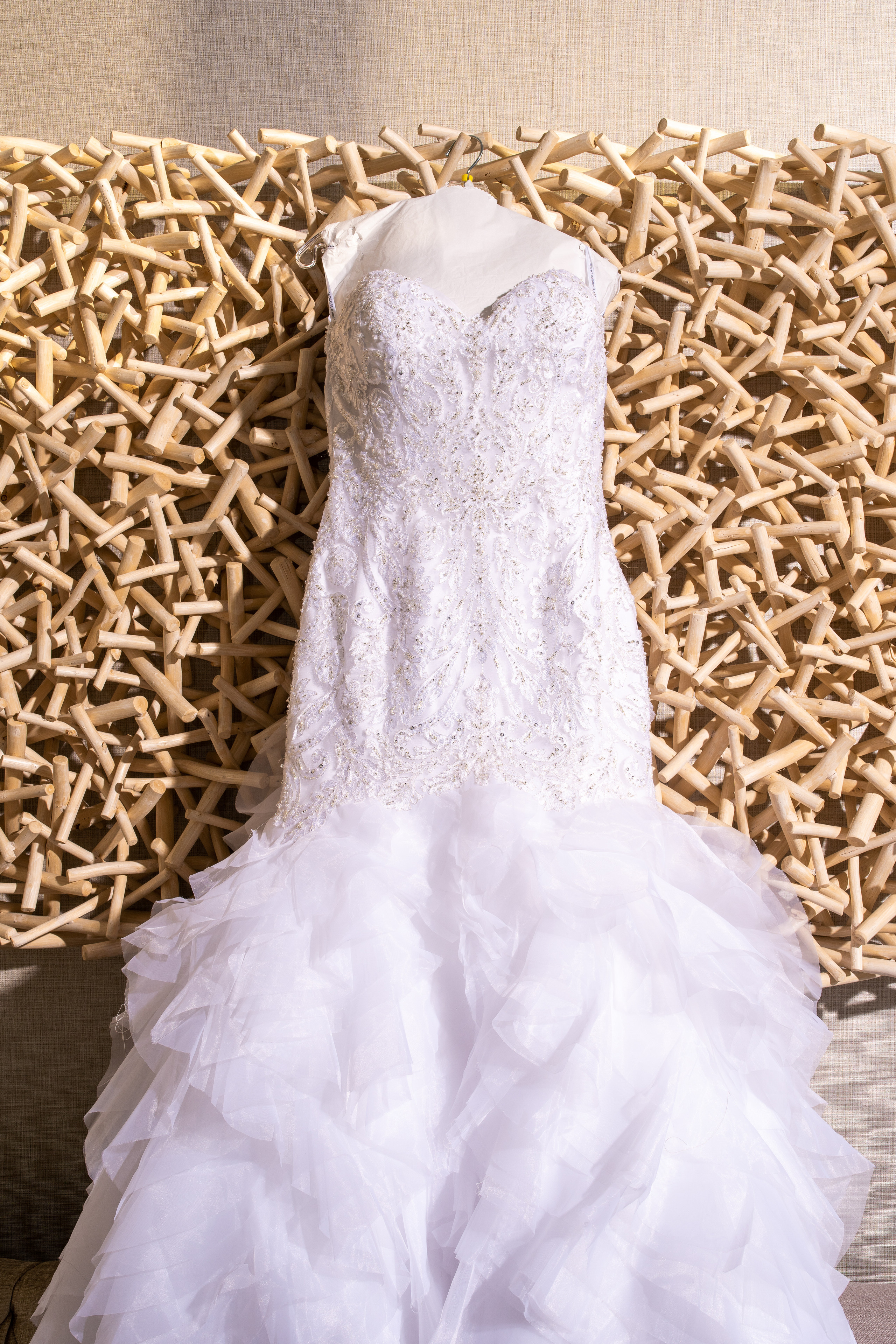 Bride's wedding dress before the wedding ceremony at the Hilton Main in Norfolk, Virginia.