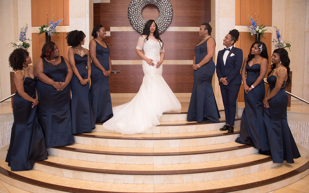 The bride and her Bridesmaids pose for a portrait at the Westin Alexandria before leaving for the Alfred Street Baptist Church.