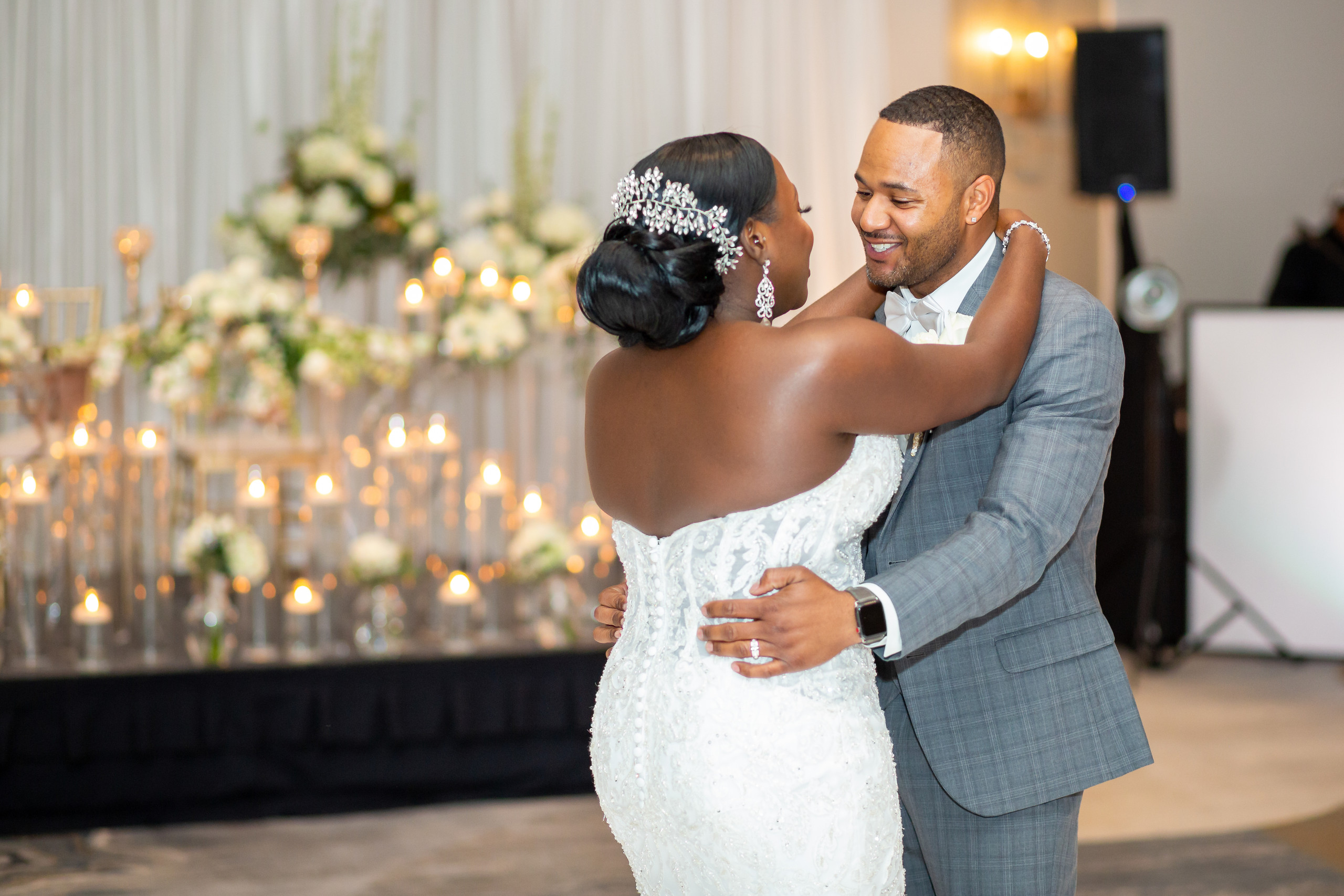 The bride and groom sharing their first dance during the wedding reception at the Hilton Main in Norfolk, Virginia.