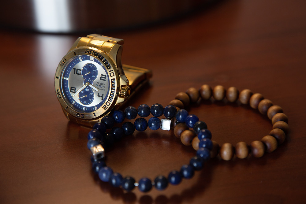 Groom's watch and accessories before the wedding at Martin's Crosswinds in Greenbelt, Maryland.