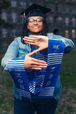 Graduation portrait for a member of Zeta Phi Beta Sorority Incorporated Georgetown University.