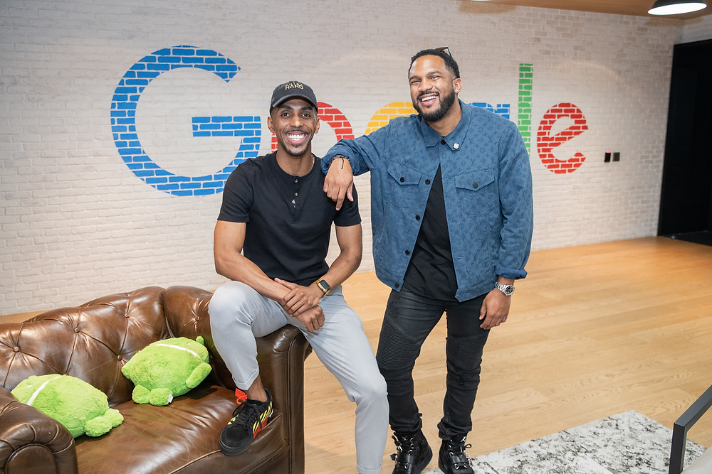 Johnny Bailey of the Shine Hard Organization and Everette Taylor pose at Google DC in Washington DC
