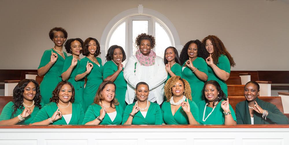 The ladies of the Chi Beta Omega Chapter of Alpha Kappa Alpha Inc. pose for a portrait.