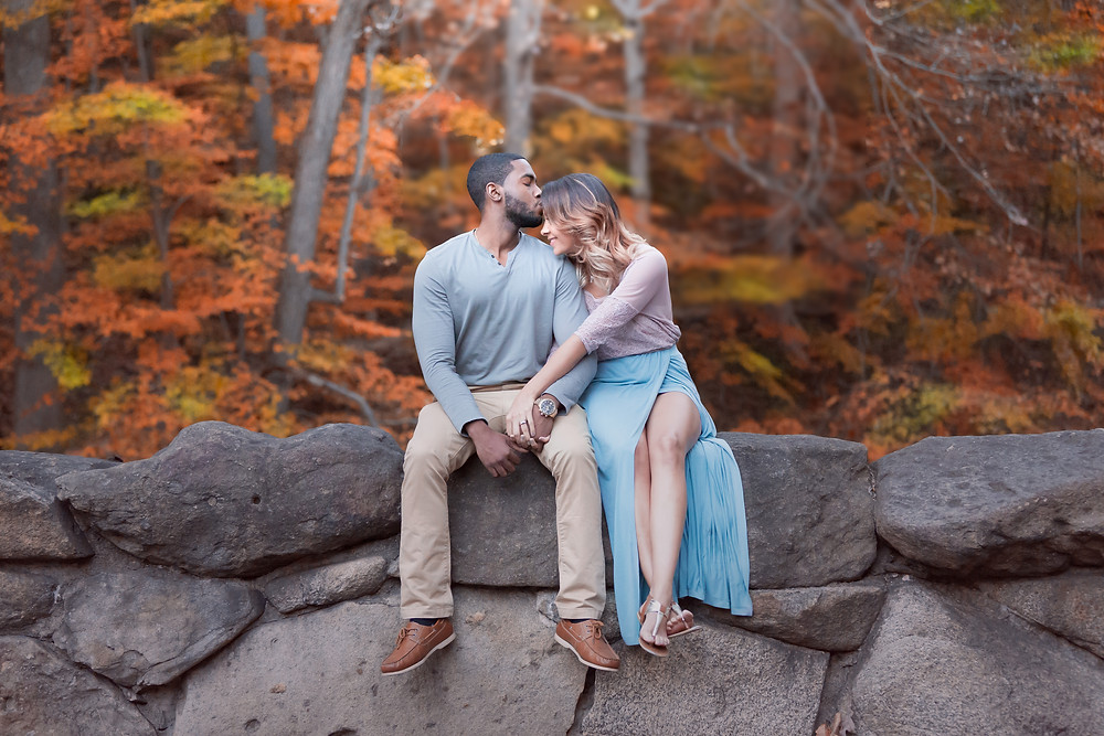 James and Briana embrace each other at their Engagement Session at Rock Creek Park in Washington, DC.