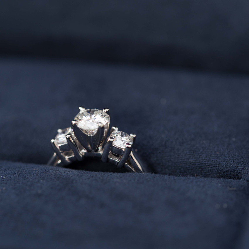 A photo of the engagement ring before the proposal.