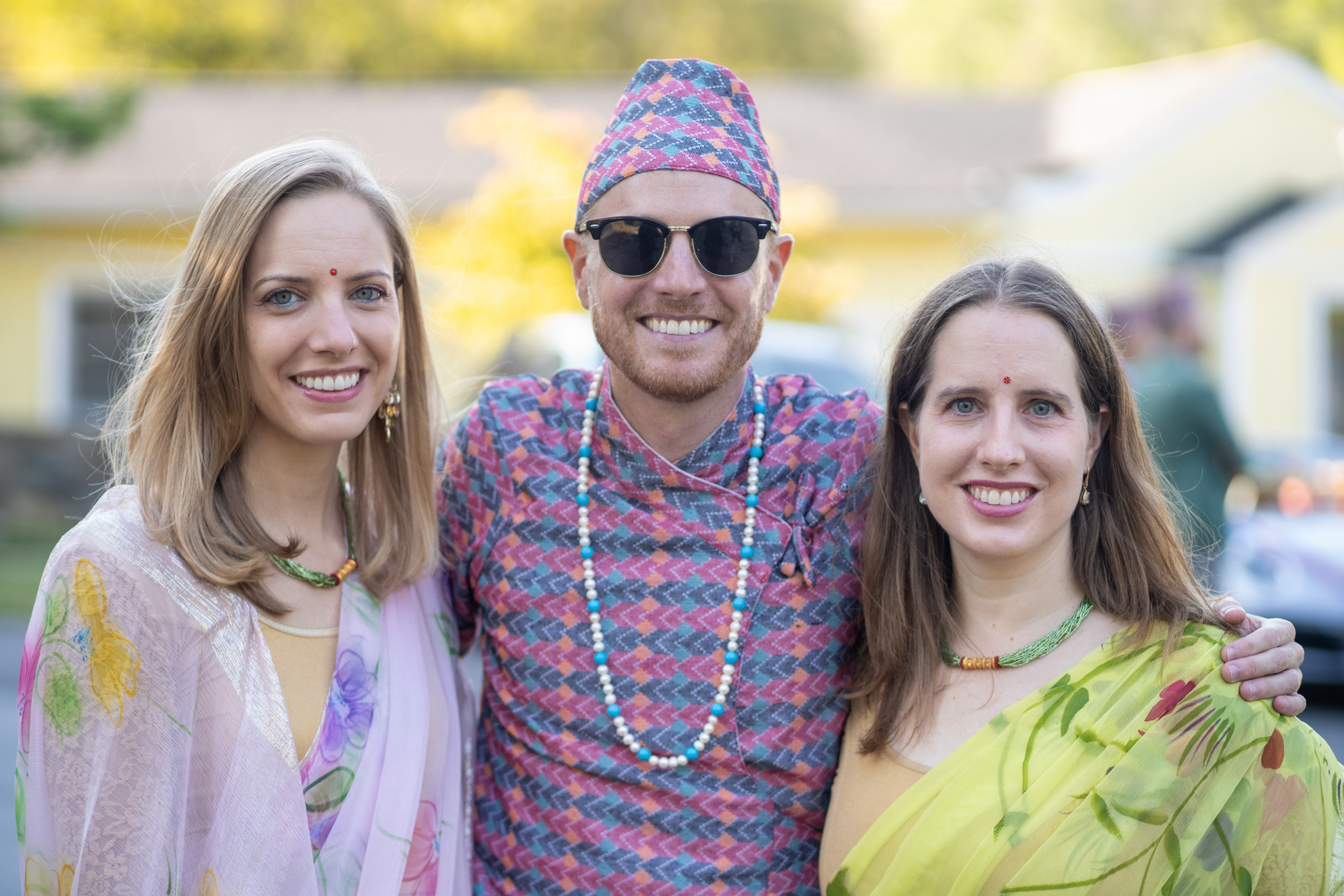 Groom with his sisters before the Hindu Ceremony at the ISKCON of DC in Potomac, Maryland.