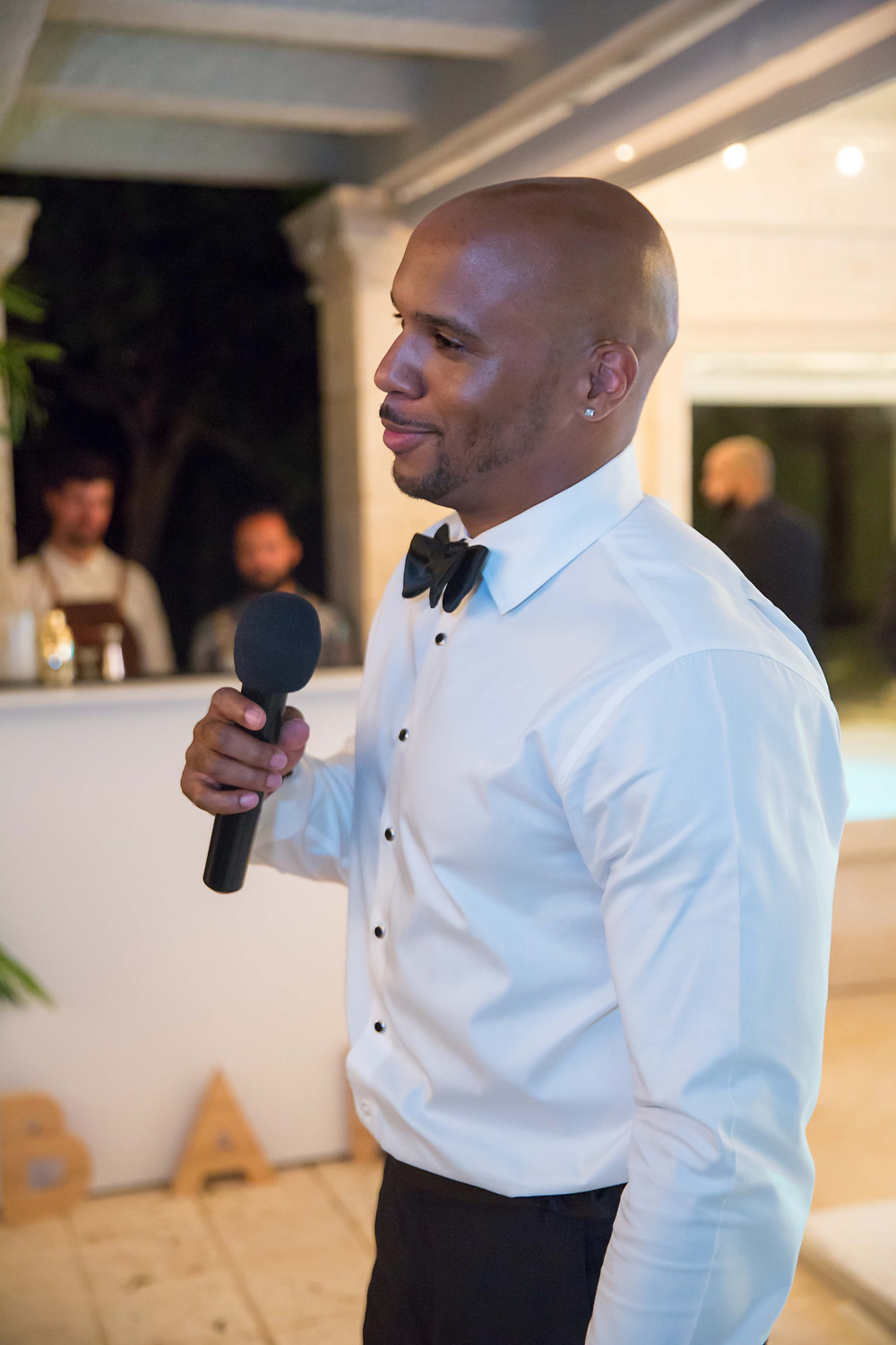 The best man gives his toast during the destination wedding reception in Punta Cana, Dominican Republic.
