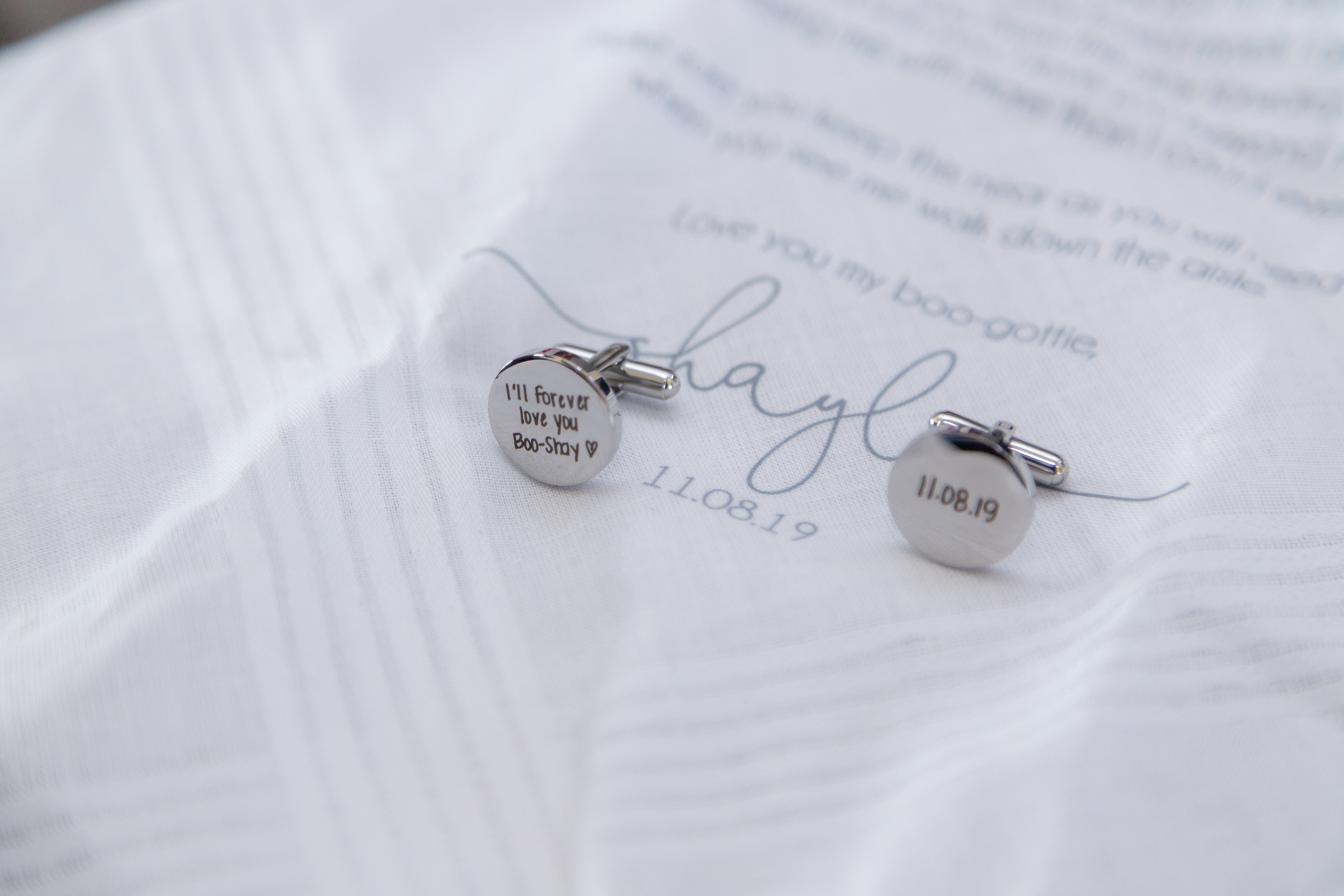 The bride's custom gifts to the groom before the wedding at the Hilton Main in Norfolk, Virginia.