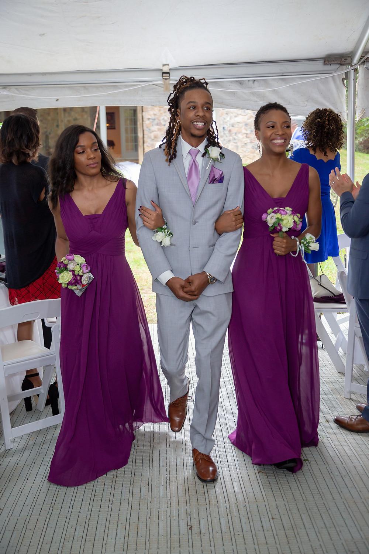 Wedding party entering the reception in Fairfax, Virginia.
