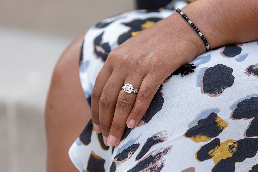 The engagement ring during the engagement session in Old Town Alexandria, Virginia.