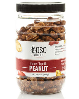 Product photography of Honey Chipotle Peanuts by Boso Kitchen in Burke, Virginia.