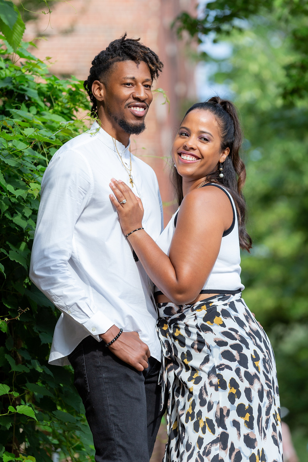 Couple at their engagement session at The Carlyle House in Old Town Alexandria, Virginia.