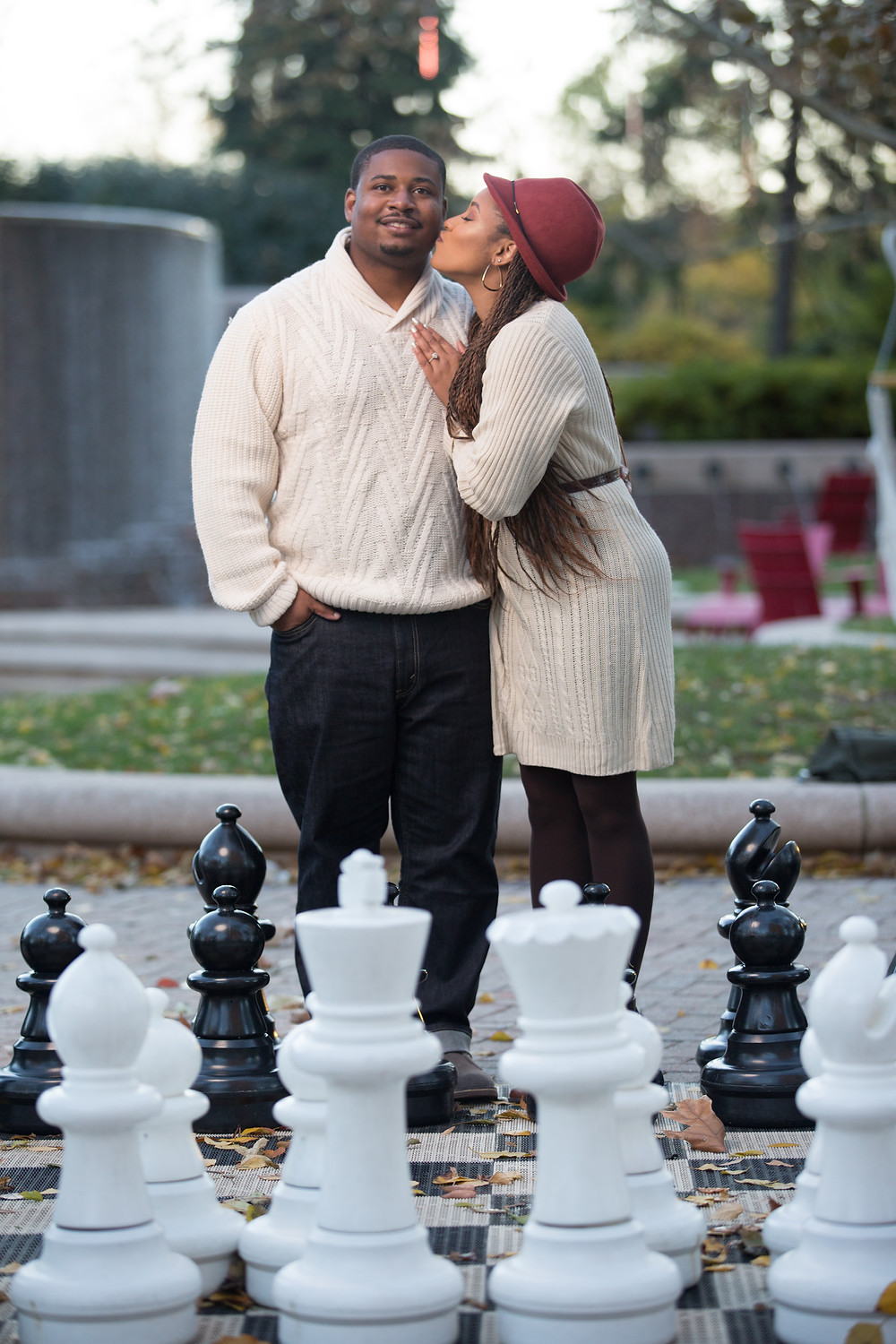 Tierra and Carl play King and Queen at their engagement session in Crystal City, Virginia.