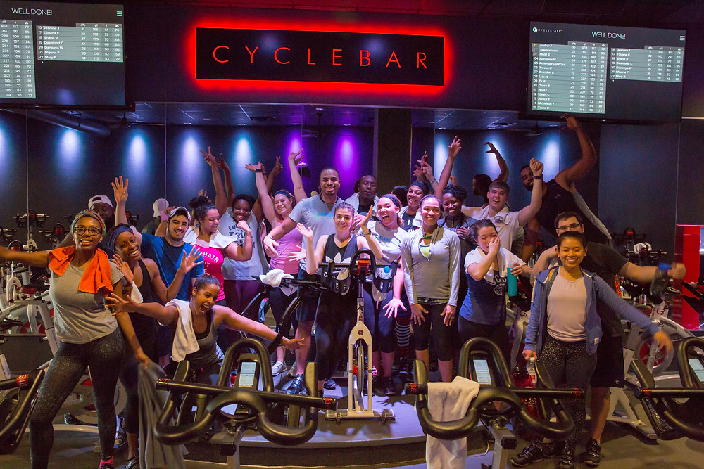 Carter Community Outreach and their guests after their session at Cyclebar in Arlington, VA.