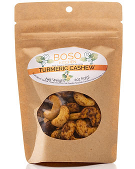 Product photography of Tumeric Cashews by Boso Kitchen in Burke, Virginia.