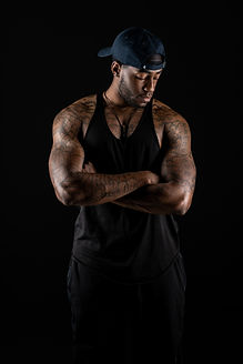 Male fitness model during a studio portrait photography session at Union 206 in Alexandria, Virginia.