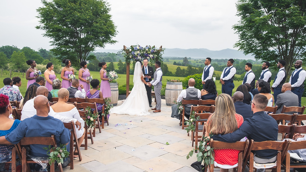 The entire wedding party during the ceremony at Crosskeys Vineyards in Mt. Crawford, Virginia.