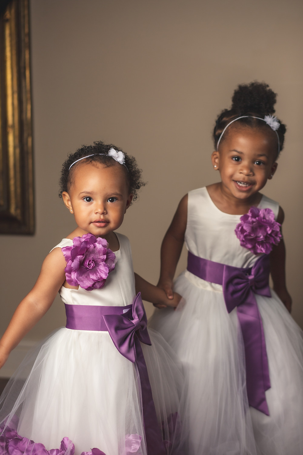 The junior bridesmaid and flower girl before the wedding ceremony at Crosskeys Vineyards in Mt. Crawford, Virginia.