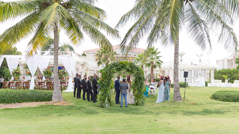 The grand scene of the destination wedding ceremony in Punta Cana, Dominican Republic.