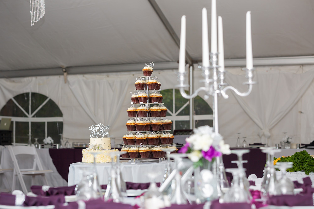 The wedding cake, cupcakes and reception area before the wedding in Fairfax, Virginia.