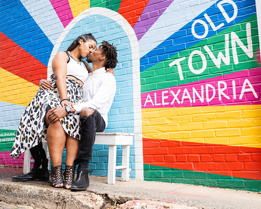 Couple at their engagement session in Old Town Alexandria, Virginia.