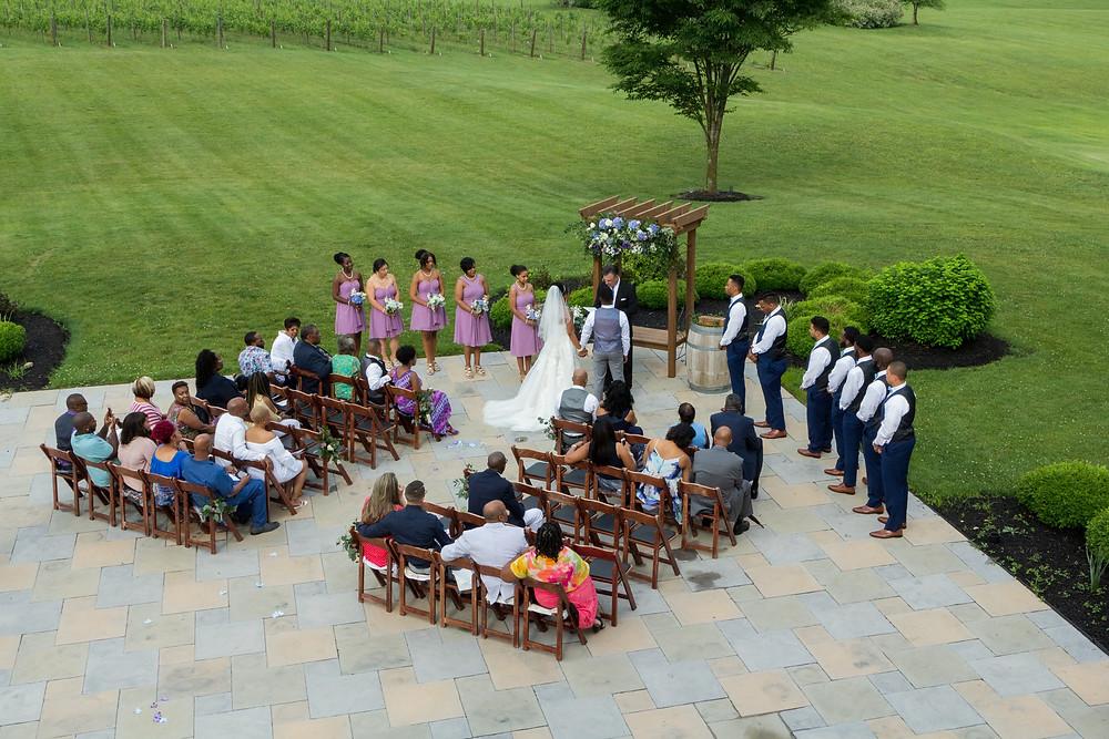 The Chandler wedding ceremony at Crosskeys Vineyards in Mt. Crawford, Virginia.
