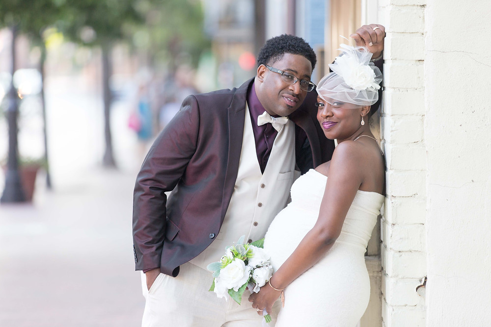 Nerissa and Kevin pose for a photo after their wedding in Annapolis, MD.