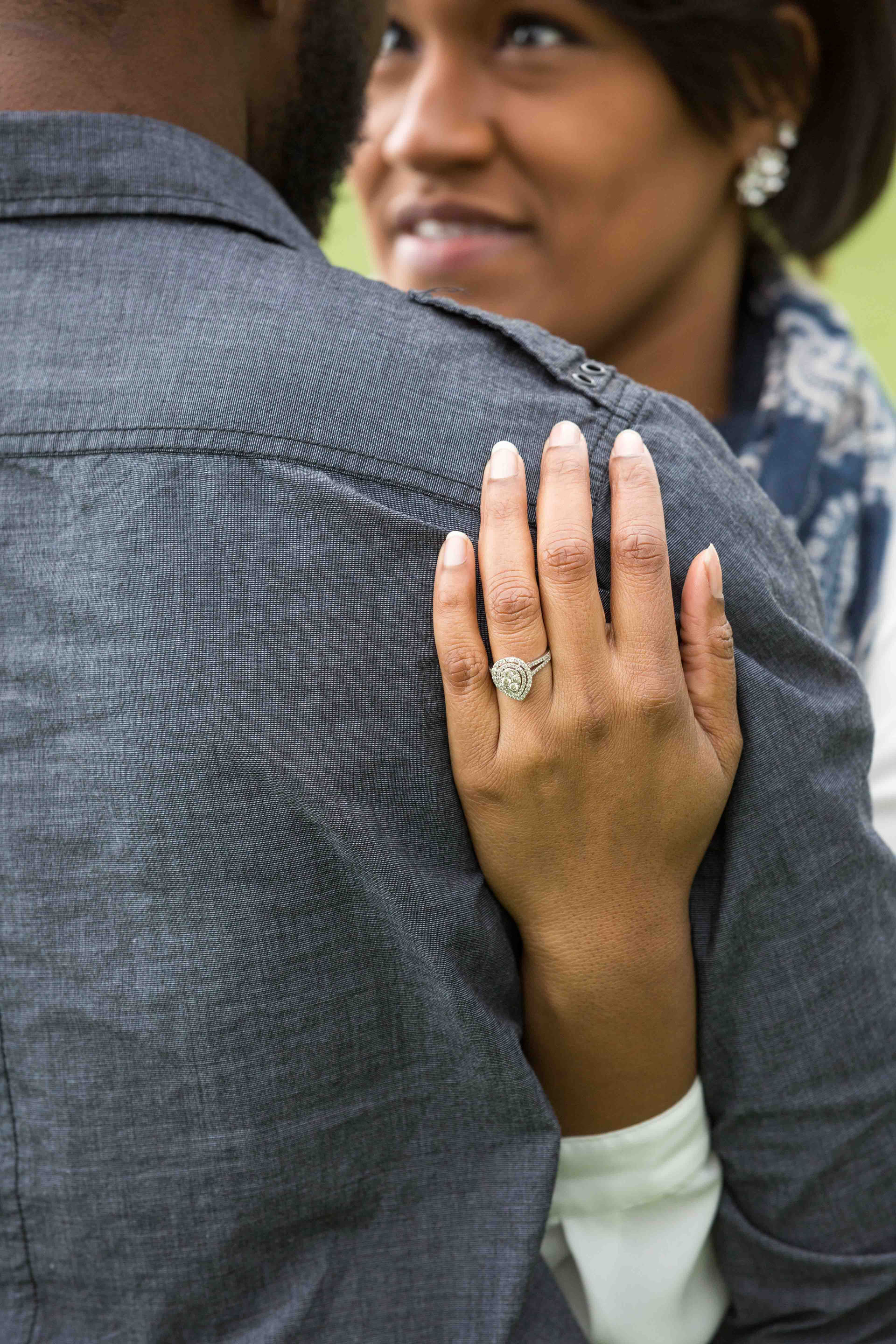 The couple posing during their engagement session in Warrenton, VA.