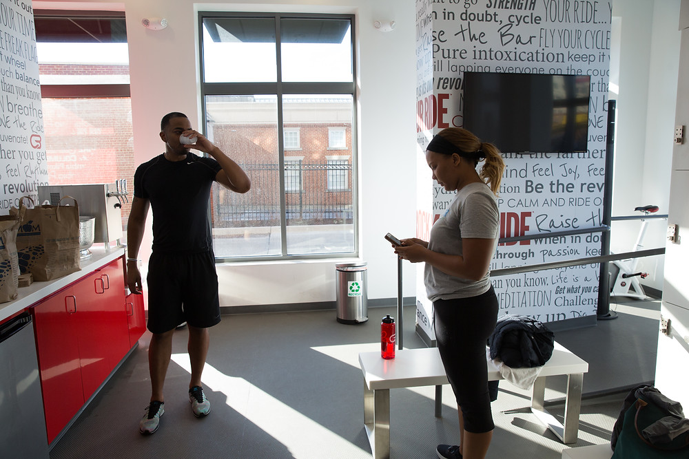 The Carter Community Outreach team after the session at Cyclebar in Arlington, VA.