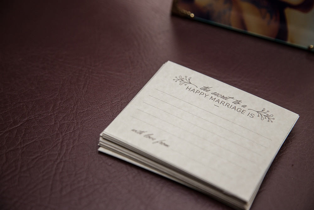Cards for guests to fill out for the newly weds before a wedding.