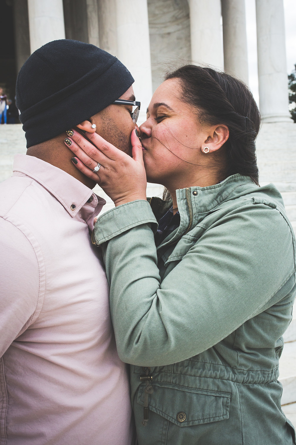 Dakota and Rodhem the day he proposed at the Jefferson Memorial in Washington DC.