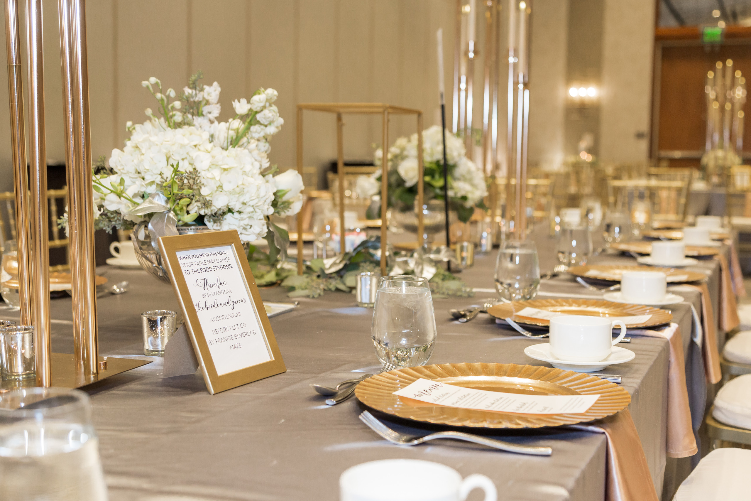 The glamourous wedding reception decor after the wedding ceremony at the Hilton Main in Norfolk, Virginia.