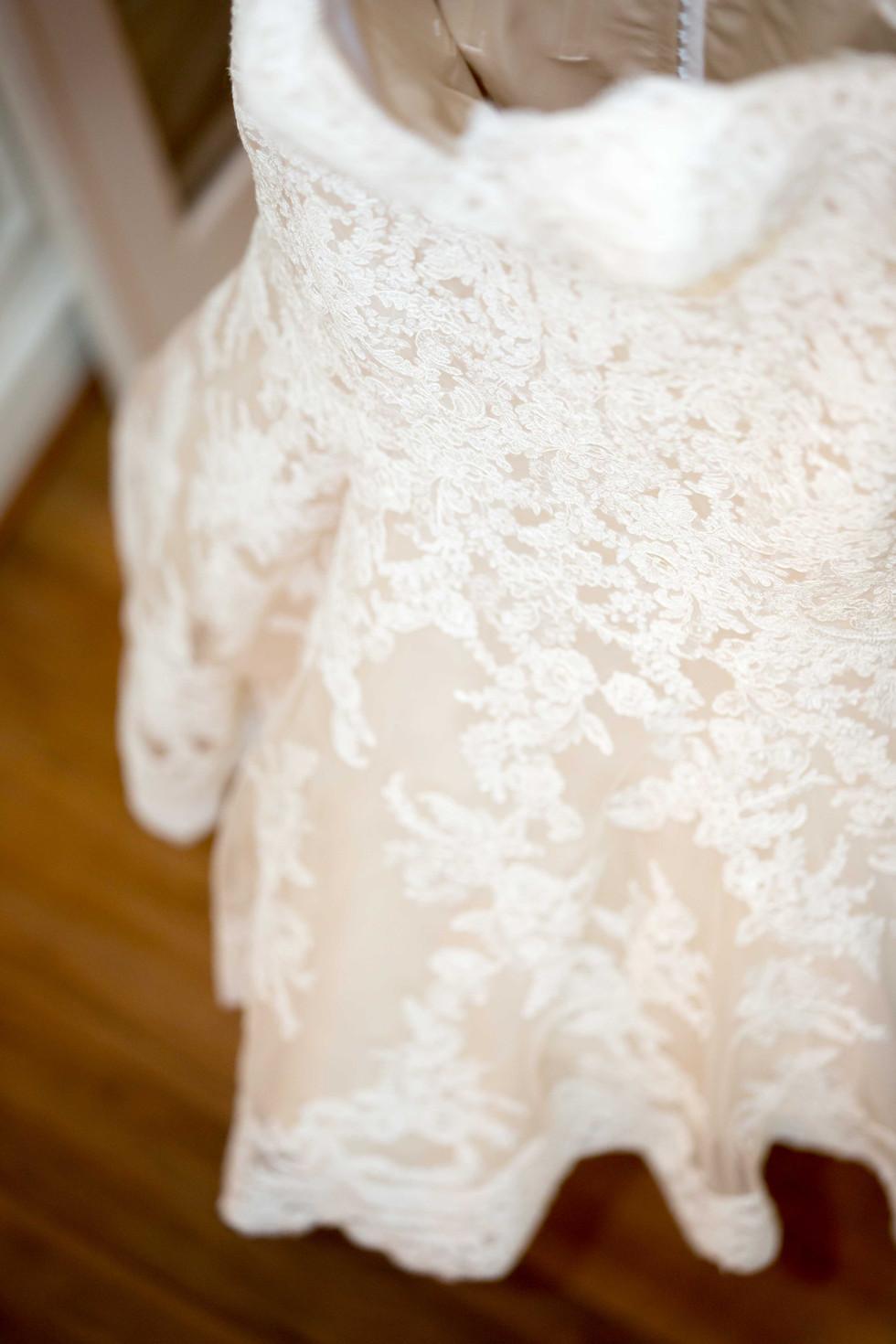 Bride's dress hanging
